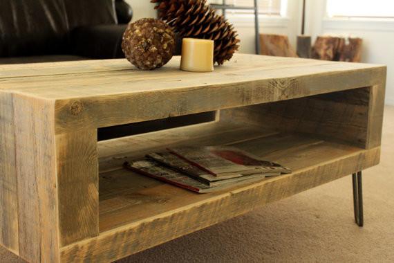 Reclaimed Wood Coffee Table Open Storage Area Modern Media Storage Denver By Jw Atlas