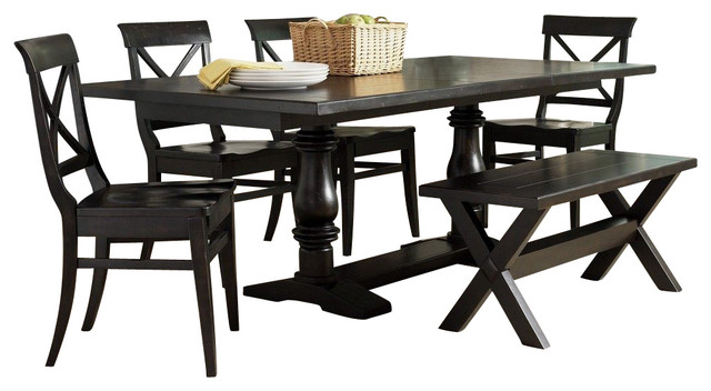 Liberty furniture sundance lake 6 piece 84x40 dining room for Traditional black dining room sets