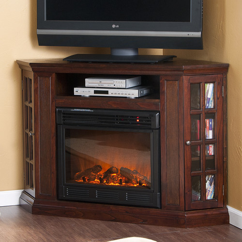 Bismark 50 Tv Stand With Electric Fireplace Modern Display And Wall Shelves