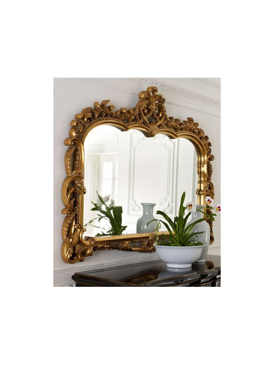 """""""Capetian"""" Mirror - Exclusively ours. The elaborately detailed resin frame has a golden finish. Rings on back for hanging. 55.25""""W x 2.25""""D x 42.75""""T."""