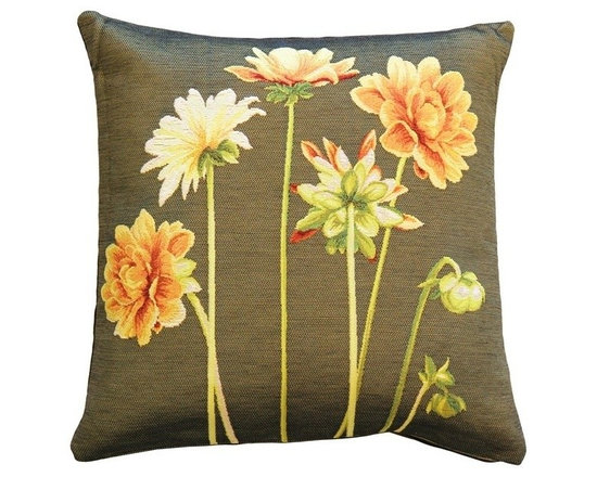 Pillow Decor Ltd. - Pillow Decor - Dahlias Square Tapestry Throw Pillow - Deep golden Dahlias in various stages of bloom are splashed across the front of this 19 x 19 square French tapestry throw pillow. A green background contrasts wonderfully against the bright green dahlia stems and the warm orange and yellow tones of the flower blossoms. The back of the pillow is black cotton canvas.