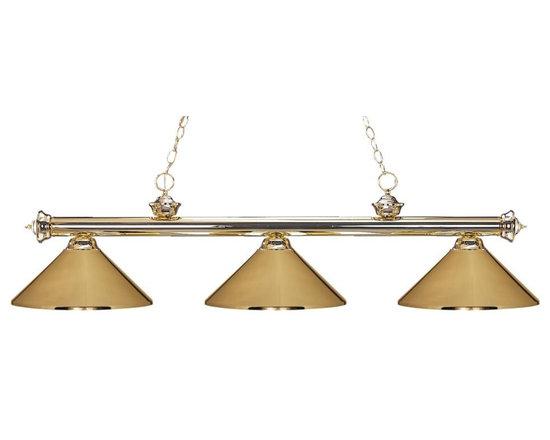 Joshua Marshal - Three Light Polished Brass Metal Polished Brass Shade Pool Table Light - Finish: Polished Brass