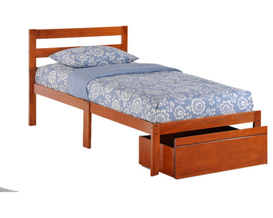 Night And Day Furniture - Night And Day Furniture Home Bedroom Bed-To-Go (Twin Size) Cherry Finish - Our Bed-To-Go is a complete Twin Size Bed frame and a single Rolling Storage Drawer in one suprisingly small box. Optional extra drawers are available separately. Comes with a five year warranty and three color choices, dark chocolate, cherry and white. Pair it with our vacuum-packed Somnus Mattress-to-go for a complete bed in a surprisingly small, shipping friendly package. Mattress sold seperately. Matches Zest furniture collection.