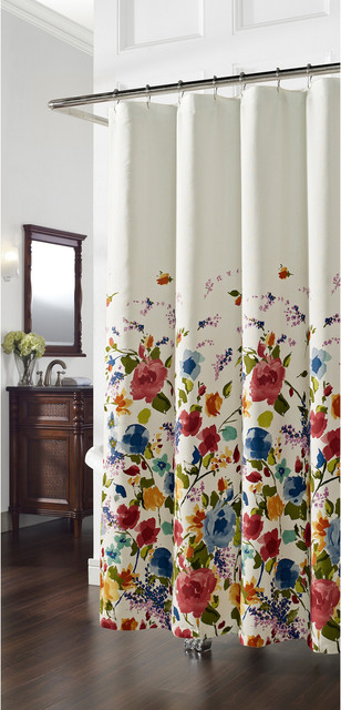 Panache Floral Shower Curtain Contemporary Shower Curtains By