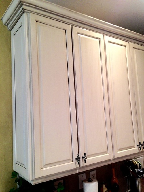 From honey maple wood cabinets to antique white