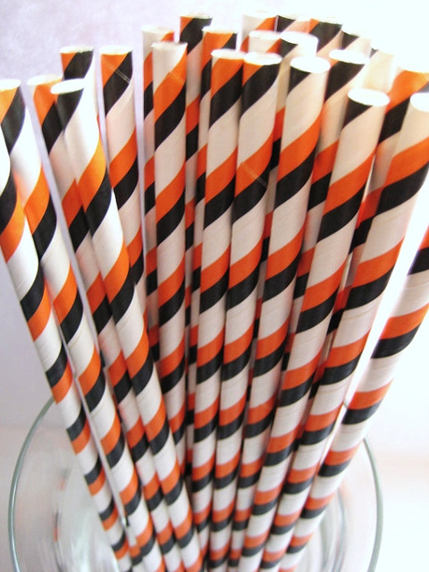 Halloween Triple Striped Retro Party Paper Straws by The Pretty Paper Shop contemporary-holiday-decorations