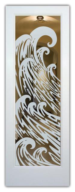 Interior Glass Doors - Frosted Glass - Newport Waves beach-style-interior-doors