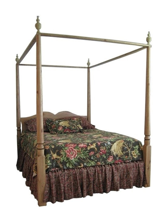 "British Traditions - 4 Poster Canopy Double Bed w Removable Finials (Stripped Pine) - Finish: Stripped Pine. Mattress not included. Each finish is hand painted and actual finish color may differ from those show for this product. Country 4-poster double bed. Removable finials and canopy rails. Comes with four bed slats. Ships unassembled, comes with all necessary hardware. Side Rail to Floor: 10 in. H. Headboard panel to floor 18 in. H. 63 in. L x 85 in. W x 90 in. H (100 lbs.)A handsomely elegant piece with beautifully-detailed finials and finely-proportioned posts. The Windsor Canopy Bed makes a strong decorative statement in the residential bedroom or retail display - perfect for showing linens, pillows and such. This traditional ""tester"" bed may be used with a fabric canopy, but is equally striking without that addition."