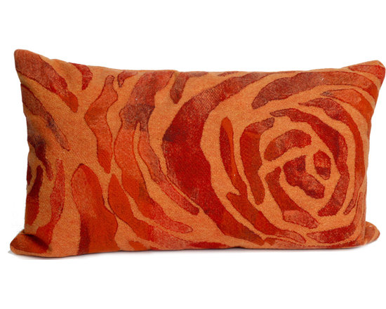 """Trans-Ocean Outdoor Pillows - Trans-Ocean Liora Manne Rose Orange - 12"""" x 20"""" - Designer Liora Manne's newest line of toss pillows are made using a unique, patented Lamontage process combining handmade artistry with high tech processing. The 100% polyester microfibers are intricately structured by hand and then mechanically interlocked by needle-punching to create non-woven textiles that resemble felt. The 100% polyester microfiber results in an extra-soft hand with unsurpassed durability."""
