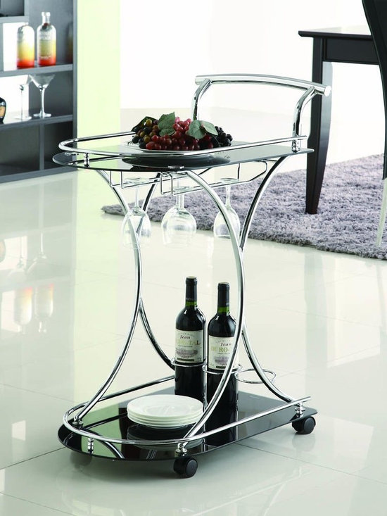 Kitchen Furniture - Contemporary Black Glass Serving Cart