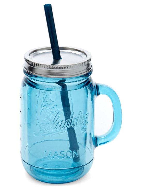 Aladdin - Marina Insulated 20-Oz. Mason Tumbler - This handled mason tumbler was crafted to bring out the best in a vintage-inspired kitchen, making it perfect for taking fresh lemonade on the go.   Includes tumbler, lid and straw 9'' H x 3.5'' diameter Holds 20 oz. BPA-free plastic Dishwasher-safe Imported
