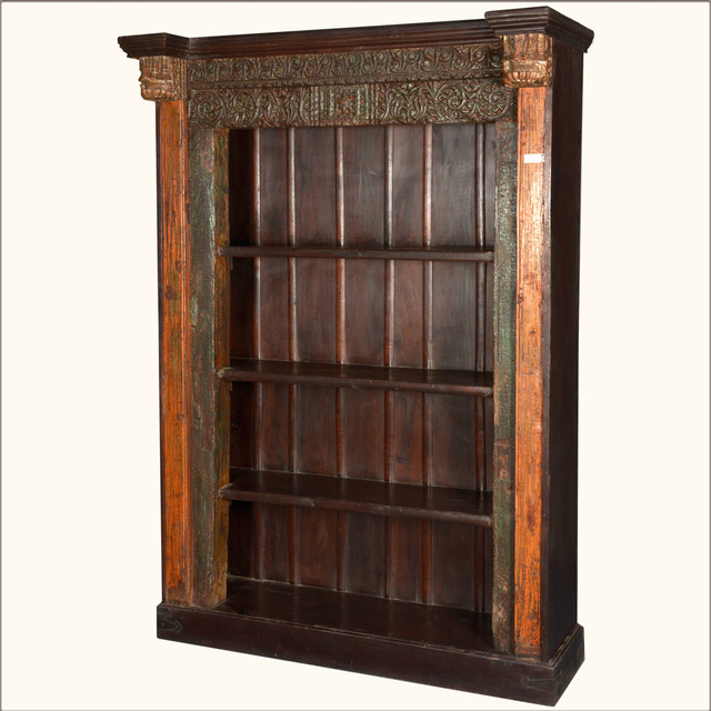 French Gothic Reclaimed Wood 4-Shelf Open Display Bookcase - Victorian - Bookcases - san ...