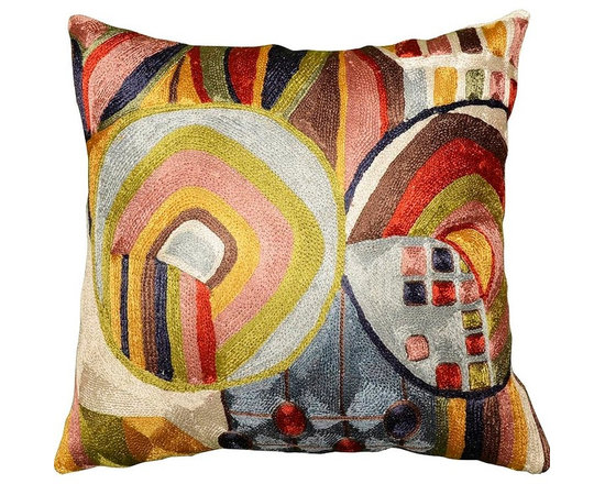"""Modern Silk - Hundertwasser Biomorph I Silk Decorative Cushion Cover Hand Embroidered 18"""" x 18 - It is said that F. Hundertwasser (Modern Artist/Architect) didn't like straight lines. The pleasing curves in this Hundertwasser-style scheme, along with the imperfect geometric forms are what characterize this biomorphic design. Biomorphs are more natural and free-flowing which complement the natural wool and cotton fibers used to create this handcrafted masterpiece. Since these are hand embroidered by Kashmiri artisans, no two are alike. Nothing about this motif will go unnoticed. Kashmir Handcraft carries two Hundertwasser-design pillow covers, in complementary colors. Wool chain stitch embroidery on a cotton base produces a soft, fine crewel, and the stitches create definite swirls as distinct as your fingerprint. Kashmiri craftsmen  produce the finest quality chain stitch needlework in the world."""