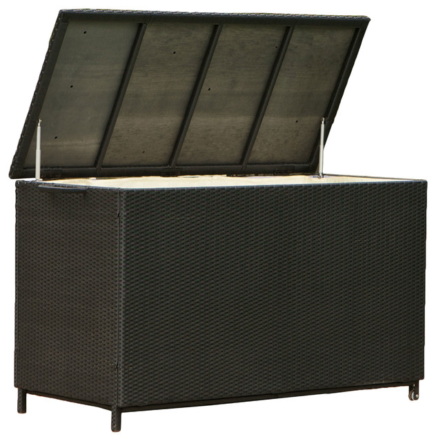 Outdoor Patio Large Wicker Storage Ottoman Modern
