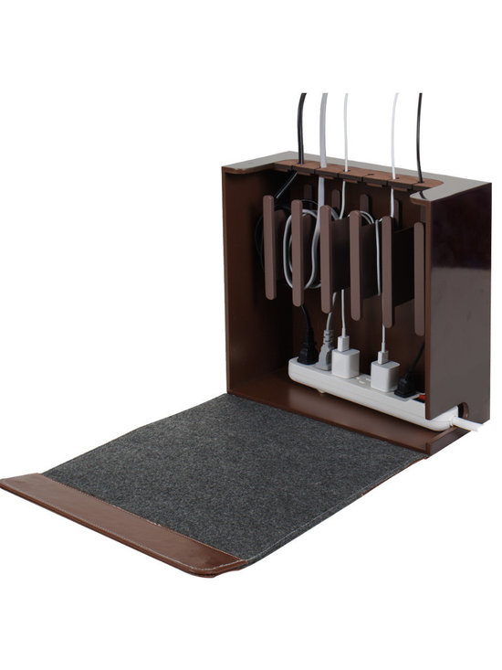 Great Useful Stuff - Cord Corral Cable and Cord Organizer - Rustic Modern - The Cord Corral may just be the ultimate cord and cable organizer you have ever come across. This sturdy compact unit has 6 easily removable magnetic spools that excess cords can be wound around and it has room for a powerstrip at the bottom so that the only cords exiting the unit will be the one cord from the powerstrip to the outlet, and the cords going up to the devices.