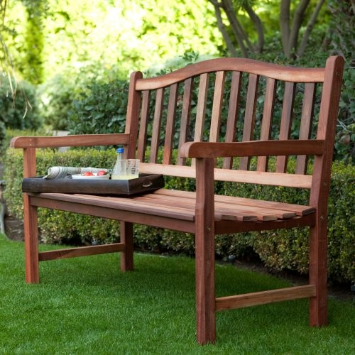 Rainbow Arts Richmond Arched Back 4 ft. Outdoor Wood Bench and Optional Cushion traditional-outdoor-stools-and-benches