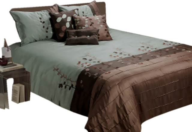 Jenny George Linea 7 Piece Full Comforter Set Featuring Piecing And Embroidery modern-bed-pillows
