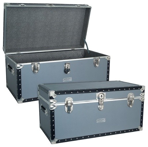 Classic Silver Trunk with FullTray with Black Binding modern-dressers