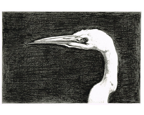 Animals, Fish and Birds - White Egret Art - The Great One - By Sharon Cummings