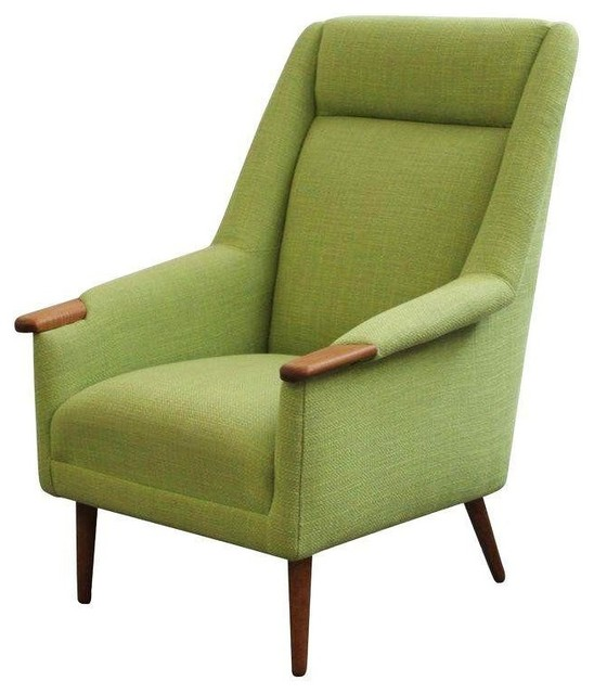 Pre owned Tall Back Danish Upholstered Vintage Lounge Chair Midcentury Ar