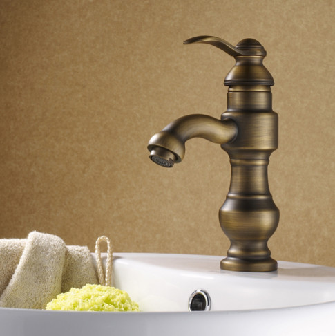 ... Single Handle Antique Brass Bathroom Faucet modern-bathroom-faucets