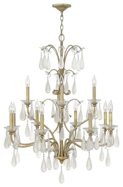 Fredrick Ramond Francesca 12-Light 2 Tier Chandelier traditional-chandeliers