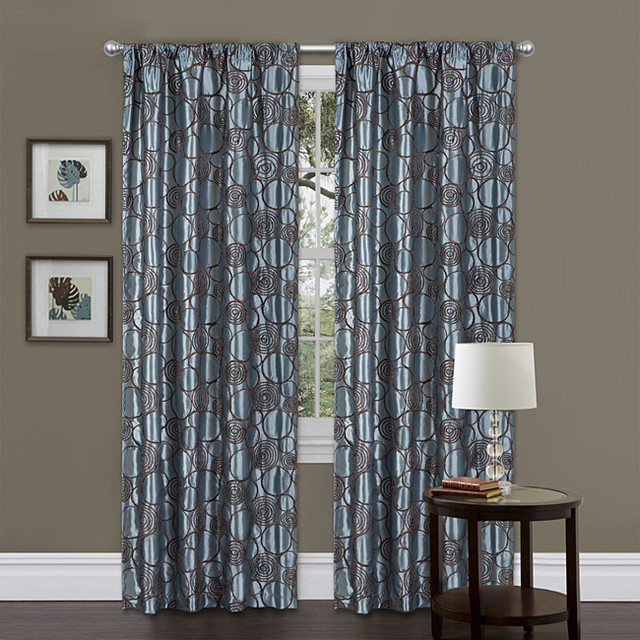 Lush decor blue brown 84 inch circle charm curtain panel - Brown and light blue curtains ...