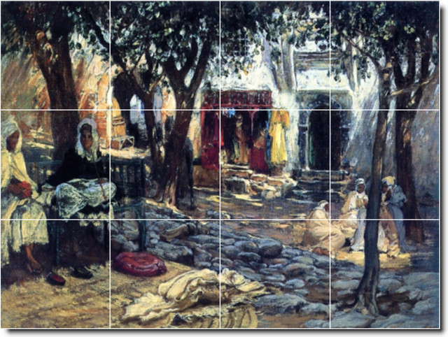 Idle Moments An Arab Courtyard Tile Mural By Frederick Bridgman traditional-tile-murals