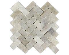 Mixed Quartz Herringbone Stone Mosaic Tile modern-tile