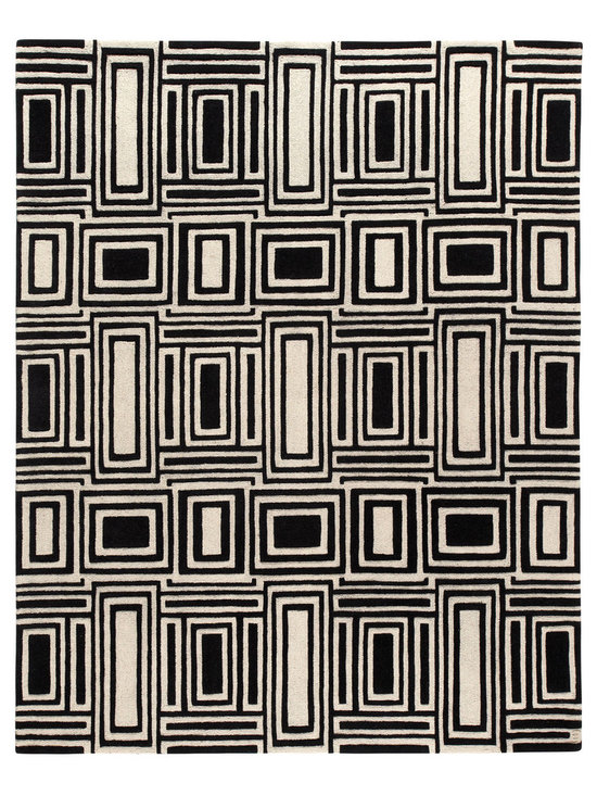 Eli, Hand-tufted Wool Rug - Graphic, modern and textural. Eli is a grounding, confident design that is both sophisticated and playful, welcoming pop colors and bold art. Hand-tufted with 100% New Zealand wool. Cut and loop pile.