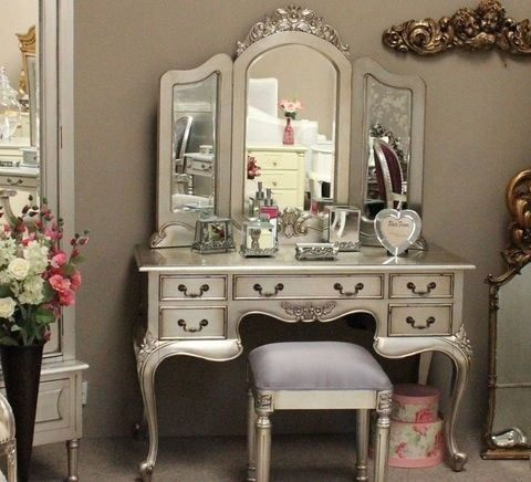 Silver leaf dressing tables transitional kids dressing for Silver vanity table