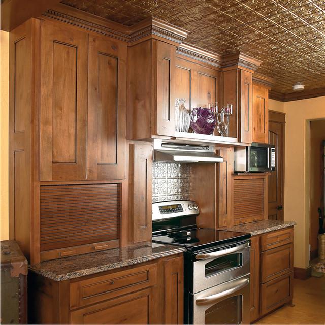 Dark Knotty Alder Kitchen Cabinets: Transitional Knotty Alder Kitchen