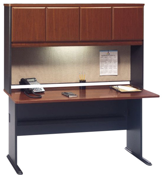 Bush series a 60 wood credenza desk with hutch in hansen cherry transitional desks and - Cherry wood computer desk with hutch ...
