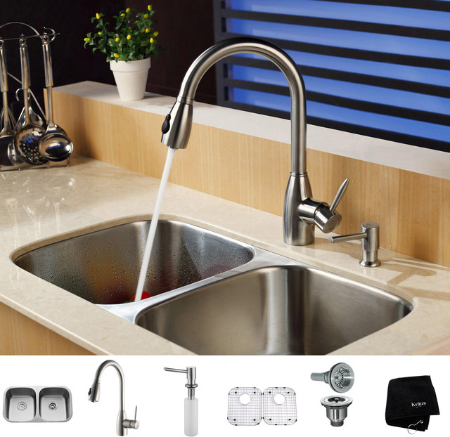Stainless Steel Sink Table Combo : Kraus Kitchen Combo Set Stainless Steel Undermount Sink with Faucet ...
