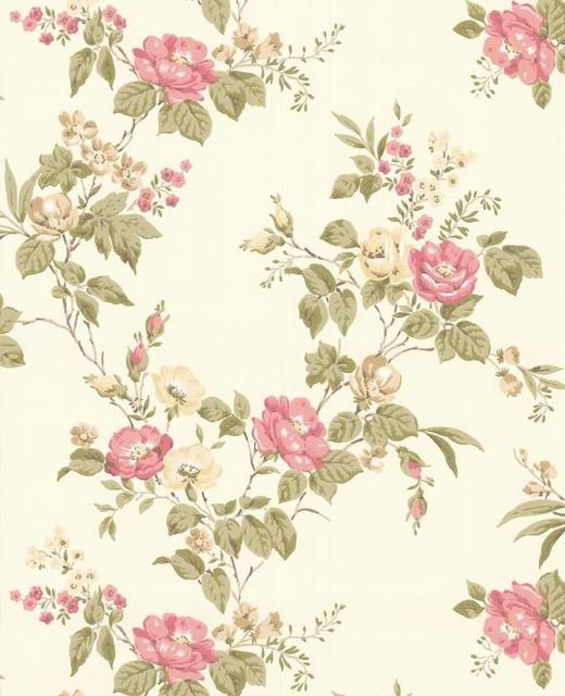 Cottage Garden Wallpaper Swatch - Beige/Pink contemporary-wallpaper
