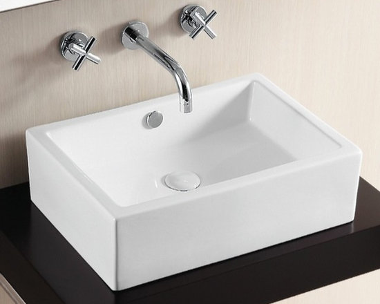 "Caracalla - Contemporary Above-Counter Rectangular Vessel Bathroom Sink by Caracalla - Stylish contemporary above counter washbasin designed in Italy by Caracalla. Rectangular vessel bathroom sink includes overflow but no faucet holes. It is made of ceramic and comes in a white finish. Sink dimensions: 20.08"" (width), 6.10"" (height), 14.17"" (depth)"
