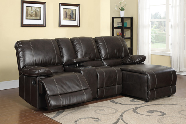 F Modern Small Cocoa Leather Reclining Sectional Sofa Push Back Chaise Contemporary