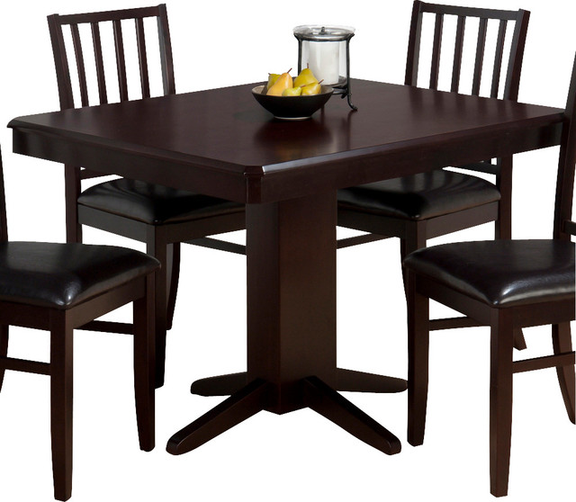 Jofran aspen merlot rectangle pedestal dining table with clipped corners traditional dining - Rectangular pedestal kitchen table ...