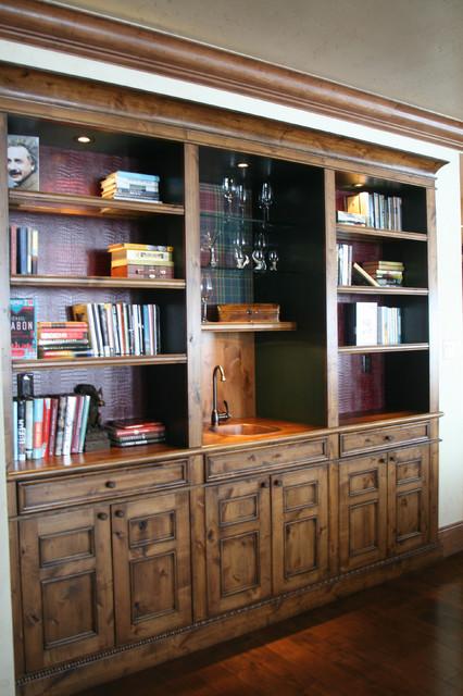 knotty alder wet bar traditional living room phoenix