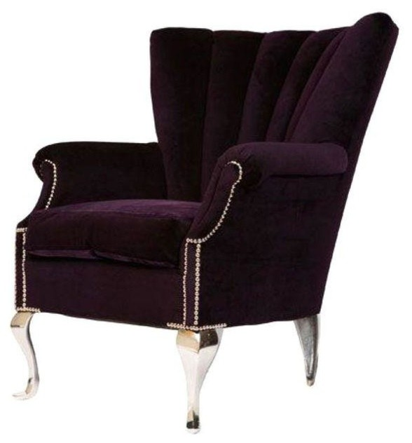 Pre Owned Purple Channel Back Wing Chair Transitional