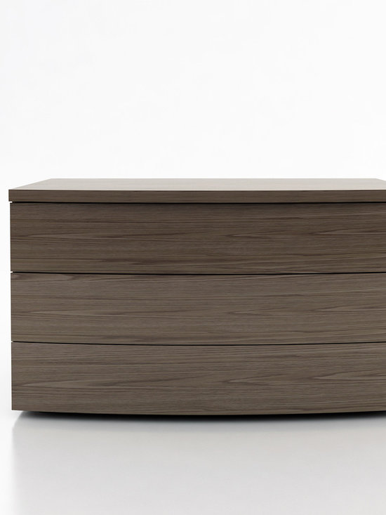 Ludlow Contemporary & Modern Dressers by ModLoft - The Ludlow modern three-drawer dresser featuring clean lines and subtle curved shape matches any bedroom decor. European soft-closing glides enable effortless drawer movement. Interior of drawers elegantly lined in light beige linenboard. Available in wenge or walnut wood finishes. Also available in white lacquer finish. No assembly required. Imported.