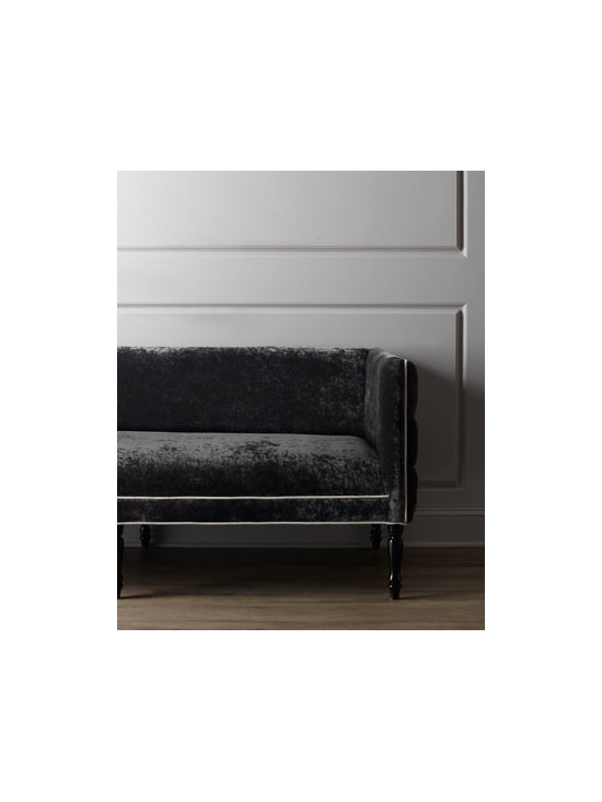 """Haute House - Haute House """"Braxton"""" Sofa - Contrast piping, button-tufted outer arms, and turned legs add quiet drama to the boxy silhouette of this striking sofa. Alder wood frame. Rayon/polyester upholstery. Finished back. Treated with stain guard. 83""""W x 33""""D x 33""""T; seat, 19.5""""T. Made...."""