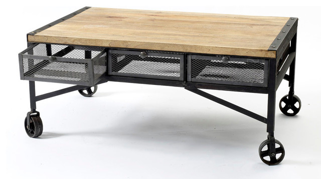 Industrial Aged Coffee Table On Wheels ... - Belker Industrial Loft Reclaimed Wood Iron Casters Cart Coffee