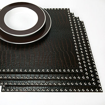 Faux Croc Placemats With Silver Studs Set Of 4 Modern
