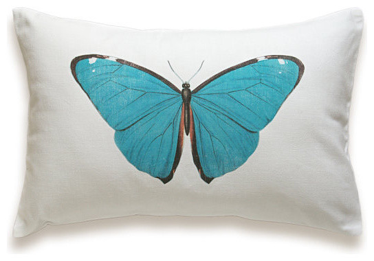 Butterfly Pillow Cover White Cotton By Delinda Boutique