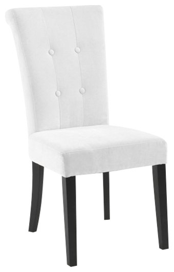 Armen Living Tuxford Tufted Fabric Side Chair in Off-White transitional-dining-chairs