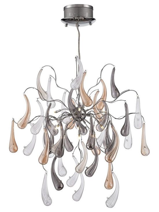 "Possini Euro Design - Possini Euro Fabrizio 22"" Wide Contemporary Glass Pendant - Offer eye-catching style to your home with this contemporary pendant light. Multi-colored glass accents in clear beige and gray tones dangle from delicate chrome finished arms while the entire design descends from a matching canopy. From the Sekaran Collection by Possini Euro Design.  Sekaran contemporary pendant light.  Multi-colored glass accents.  Chrome finish.  Includes nine 20 watt G9 halogen bulbs.  Includes electronic transformer.  Includes 12 feet of adjustable cord.  22"" wide.  43"" high.  Canopy is 8"" wide.  Hang weight is 10.12 lbs."