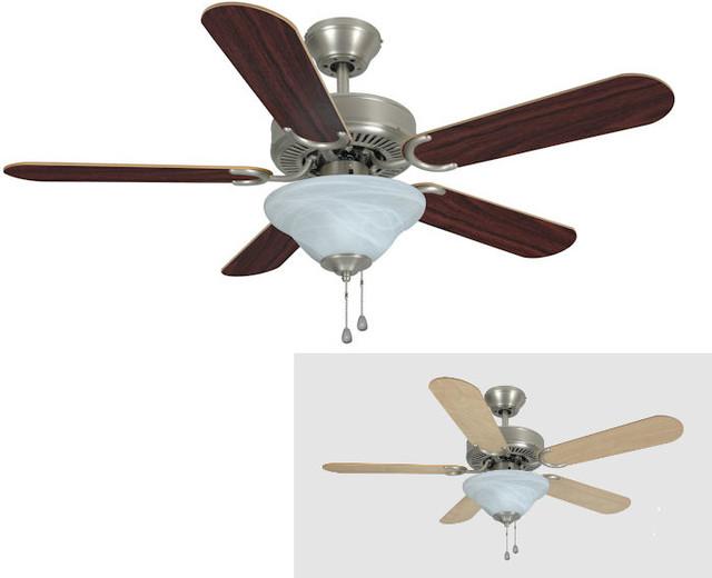 """Satin Nickel 42"""" Ceiling Fan w Light Kit Traditional"""