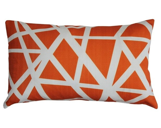 "Pillow Decor - Pillow Decor - Bird's Nest Orange Throw Pillow 12X20 - This versatile geometric accent pillow is both modern and elegant. The bold bird""s nest pattern featuring dynamic white stripes on a orange background will add contemporary flair to your home decor. The Bird's Nest Throw Pillow is a great addition to any contemporary designed room. The pillow is perfect as a standalone accent piece or can be used to creatively tie in other decor pieces such as abstract art objects. The bird""s nest design is printed on both sides on an indoor/outdoor spun polyester fabric."