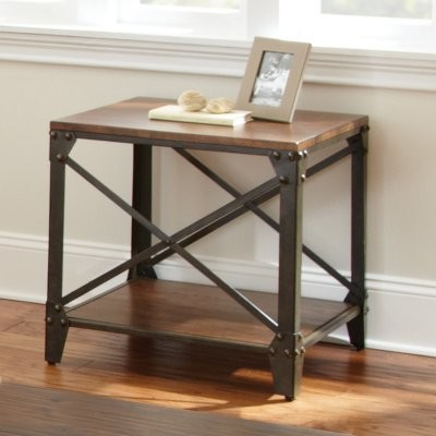 Steve Silver Winston Square Distressed Tobacco Wood And Metal End Table Mod